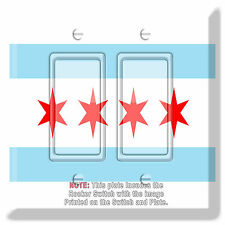 Light Switch Plate Cover Chicago Flag w/ Rocker Switch  Outlet