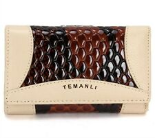 Fashion women snake texture genuine leather wallet Trifold Purse Card Holder