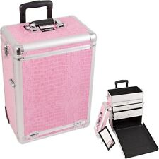 Pro Aluminum Rolling Artist Cosmetic Makeup Beauty Train Drawer Case- Cro. Pink