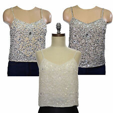Embellished camisole top sequins beaded big bead cami UK size 4 6 8 10 12 14