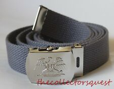 NEW EAGLE ADJUSTABLE STEEL GREY CANVAS MILITARY WEB UNIFORM BELT CHROME BUCKLE