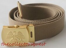 NEW GOLD EAGLE ADJUSTABLE KHAKI CANVAS MILITARY GOLF WEB BELT VINTAGE BUCKLE
