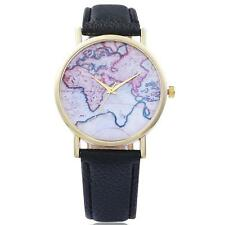 Women Ladies Girls Leatheroid Band World Map Style Analog Quartz Wrist Watches