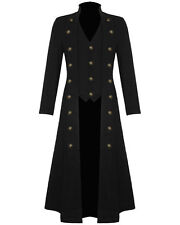 Men's Steampunk Military Trench Coat Long Jacket Black Gothic