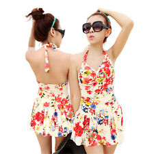 1 x Women Floral One Piece Swimwear Sexy Swimsuit Vintage Beach Dress Swim Dress