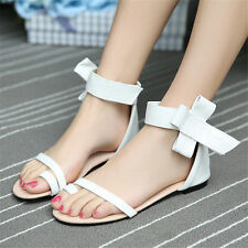 Size 5-11 Womens Bow Ankle Strap Roman Gladiator Flat Heel Thong Sandals Shoes