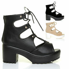 CHUNKY Sole Lace Up Gladiator Sandals, Ladies Shoes, Womens Block Heels Size 3-8