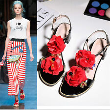 New Womens Sandals Flower Rhinestone Leather Roman Gladiator Sandals Party Shoes