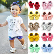 Toddler Infant Baby Tassel Bowknot Bow Soft Sole Leather Shoes Boy Girl Moccasin