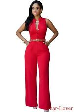 Plus Size Women Sexy Belted Wide Leg Jumpsuits Deep V-neck Sleeveless Rompers
