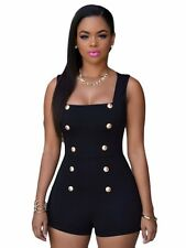 Sexy Women Jumpsuits Gallus Stretch Bodycon Rompers Sleeveless With Gold Buttons