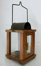 Vintage Style Wood and Glass Candle Holder Lantern