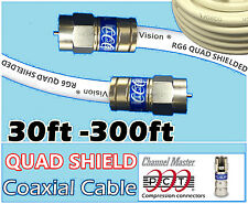 RG6 Quad PCT F White 30 - 300 Ft Coaxial Coax Cable Wire Satellite HD Antenna TV
