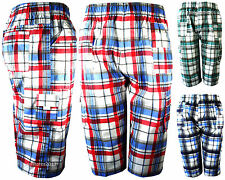 BOYS CHECKED COTTON BLEND SHORTS MULTIPOCKET ¾ LENGTH COMBAT AGE KIDS 3-14 YEARS