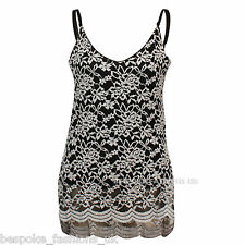 Ladies Women Sleeveless Floral Lace Emboss Print Scallop Edge Vest Top 8-14