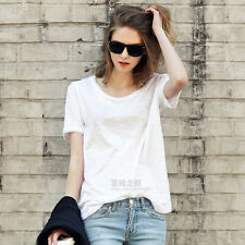 Womens Classic Cotton Basic Casual Tee Short Sleeve T-Shirt