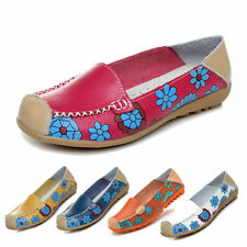 Women Flower Floral Leather Loafers Moccasins Flats Soft Ballet Shoes Round Toe