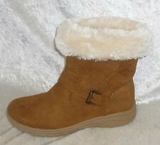 St Johns Bay Womens Boots faux suede cCole faux fur cuff low size 7.5 8 NEW
