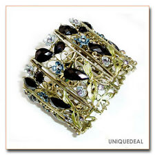 NEW VINTAGE BRONZE RESIN CRYSTAL RHINESTONE FLOWER BRACELET BANGLE CUFF / GREEN