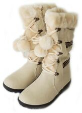 NEW WOMEN POM POM LACE UP FUR LINED FLAT HEEL WINTER BOOTS COCO-01 / WHITE
