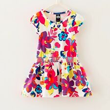 Girls Dresses Flower Print Cotton Sundress Party Holiday Kids Clothing Size 2-6T