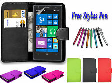 PU Leather Side Open Book Flip Wallet Case Cover Holder For Nokia Lumia 535 UK