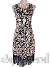 Vintage 1920s Flapper Dress Great Gatsby Black Sequin Fancy Charleston Costume