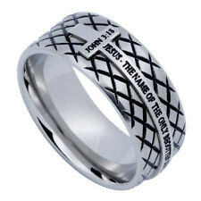 John 3:16 Men's Cross Ring, JOHN 3:16 Bible Verse Steel Diamond Shape