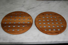 Vintage Pair Mid Century /Hollywood Regency Danish Teak Trivets- Eames