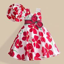 Girl Dress + Hat Plum Flower Print Party Pageant Holiday Kids Clothing 2-8T