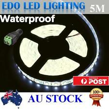 Waterproof 5050 SMD 300 Cool White DC 12V 5M  Leds LED Strip Light Car+Connector