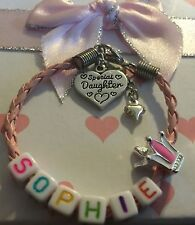 Personalised ANY NAME childrens girls pink princess crown bracelet gift box