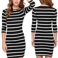 Fashion Women Casual Long Sleeved Stripe Cocktail Party Bodycon Short Mini Dress