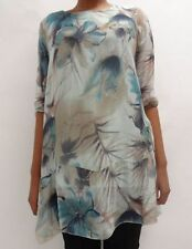 Womens Ladies Italian 3/4 sleeve double layered Floral top tunic Size 10 12 14