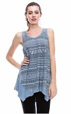 NEW! VOCAL BLUE TUNIC TANK TOP FOR JEANS, SHORTS & SKIRTS SILVER STONES M L XL