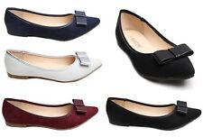 Womens Ladies Ballerinas Dolly Pumps Shoes Leather Bow Faux Suede Pointy UK 3-8