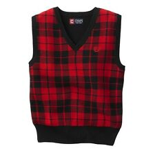 Chaps Sweater Boys Vest Plaid black red kids sizes 4, 5, 8, M, L, XL NEW