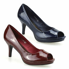 Ladies Womens New Mid Heel Peep Toe Patent Platform Work Pumps Court Shoes Size