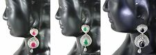 CZ AD Earrings set studded with Zircon white, Red, Greed and Black stones