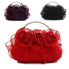 NEW Women's Rosette Evening Clutch Handbag Wedding Bridal Chain Bag Party Purse