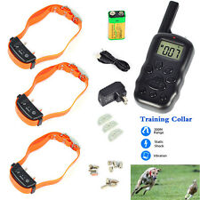 3/2/1 pet dog cat 100LV Shock Vibrate Remote Rechargeable Training E-Collar 300m