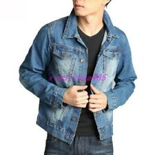 Trendy Mens Jean Jacket New Vintage Denim Button Coat Washed Outerwear Cowboy
