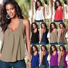 Fashion Women Casual Summer Chiffon Vest Sleeveless Blouses Tank Tops T-Shirts