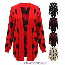 Ladies Womens Knitted Heart Print Open Cardigan Jacket Jumper Plus Sizes 16-26