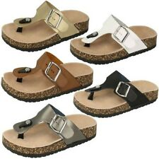 Ladies Slip On Synthetic Leather Casual Sandal Spot On F10294