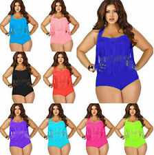 Plus Size Women Sexy Swimsuit Retro Tassel Beachwear Two Piece Bikini Swimwear