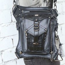 New Men PU Leather Waist Fanny Leg Bag Motorcycle Rider Punk Rock Messenger Pack
