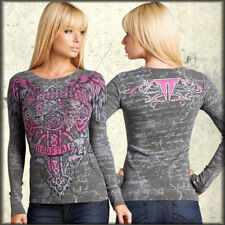 Throwdown Revenge Cross Angel Wings UFC MMA Womens Long Sleeve Thermal Grey L XL