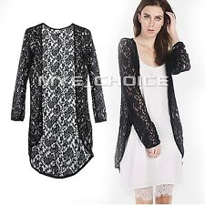 Fashion Ladies Chiffon Lace Floral Sheer Cardigan Jacket Tops Blouse Plus Size