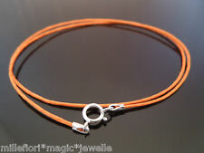 "1mm Orange Waxed Cord & 925 Sterling Silver Necklace 14"" 16"" 18"" 20"" 22"" 24"" etc"